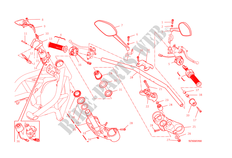 GUIDÃO   COMUTADOR para Ducati Monster 1200 2014